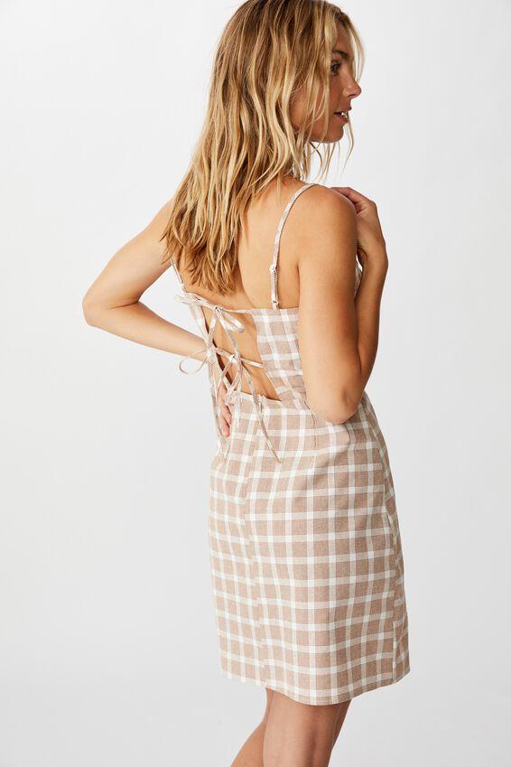 Woven Renee Strappy Mini Dress, BETH GINGHAM GLAZED GINGER