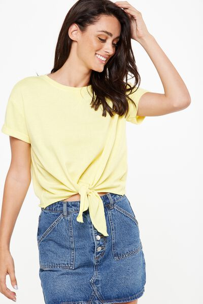 Coco Short Sleeve Fleece Top, GOLDEN KIWI