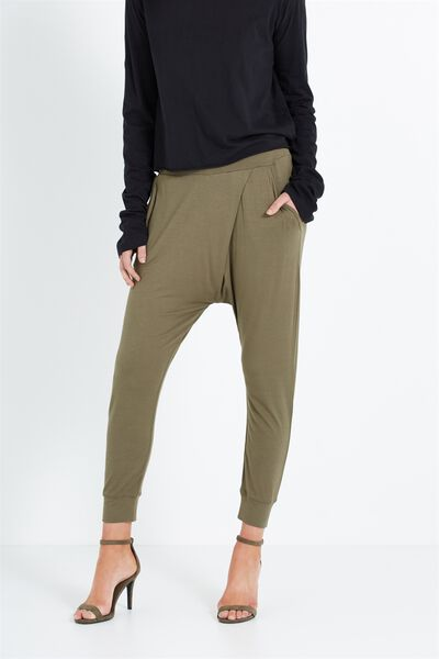 Relaxed Wrap Jersey Pant, PARKS KHAKI