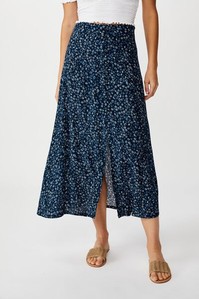 Summer Button Midi Skirt, FRANKIE DAISY TOTAL ECLIPSE