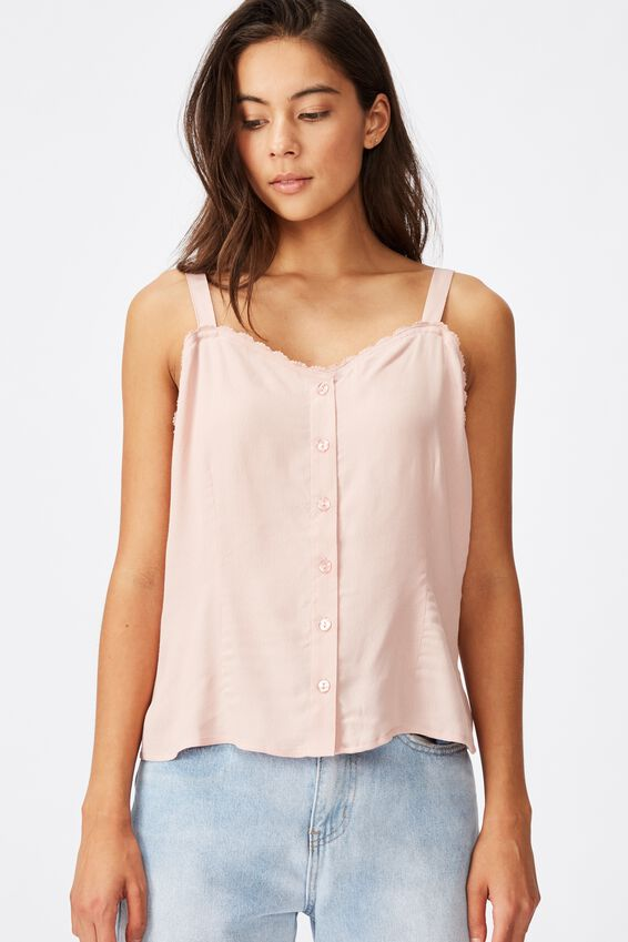 Pixie Button Through Cami, MISTY ROSE