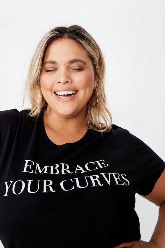 Curve Graphic Tee, EMBRACE YOUR CURVES/BLACK