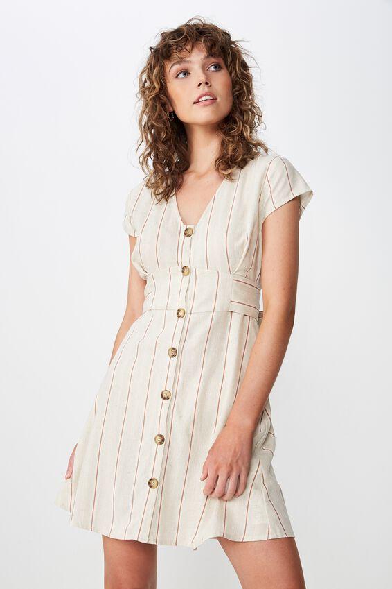 Woven Jenny Deep V Mini Dress, MAYA MULTI STRIPE NATURAL FLECK