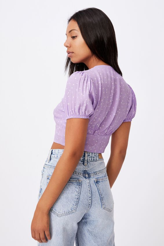 Payton Button Front Blouse, BELLA DITSY LILAC BLOSSOM