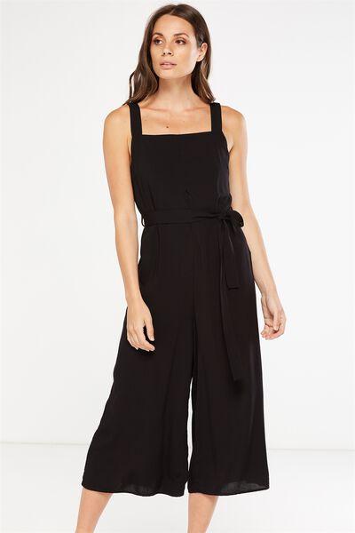 Woven Jessie Culotte Jumpsuit, BLACK