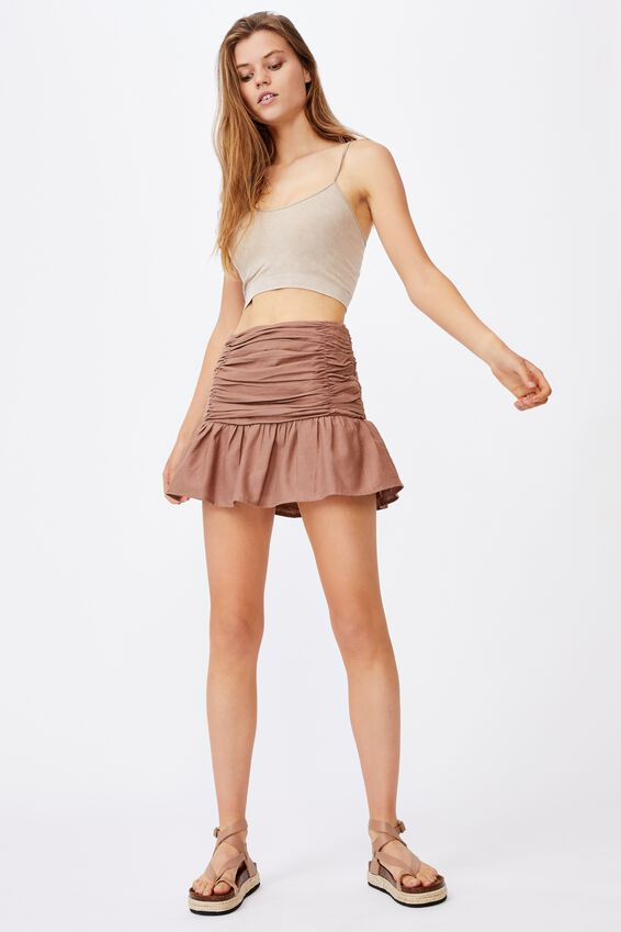 Claire Ruched Mini Skirt, HERITAGE BROWN
