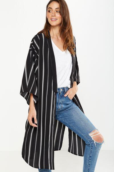Lana Longline Kimono, LEXI VERTICAL STRIPE BLACK