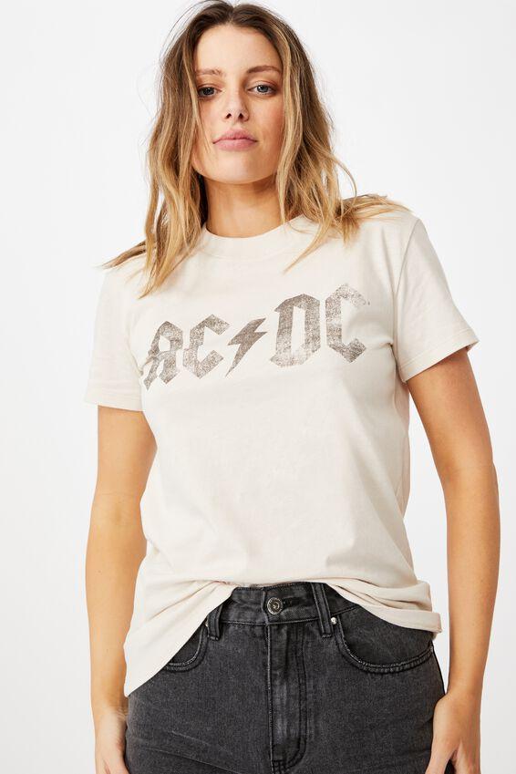 Classic Acdc Back In Black T Shirt, LCN PER ACDC BACK IN BLACK/SANDSTONE