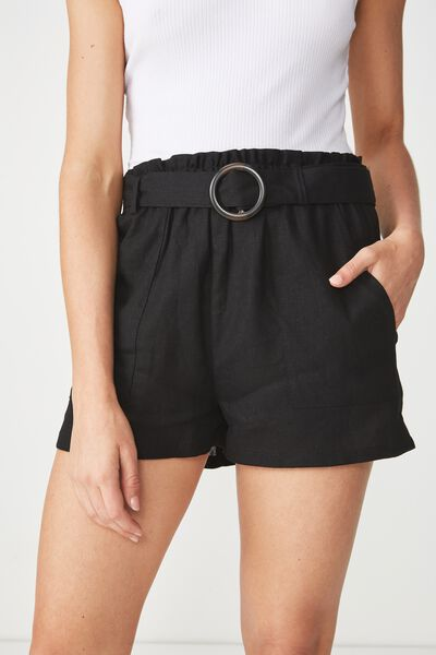 High Waist Short, BLACK BUCKLE