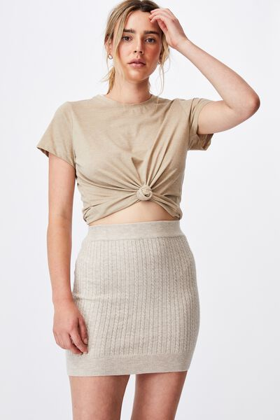 Ultimate Knit Cable Mini Skirt, TAUPE MARLE