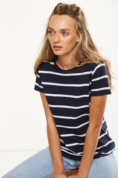 The Crew T Shirt, NINA STRIPE MOONLIGHT/WHITE