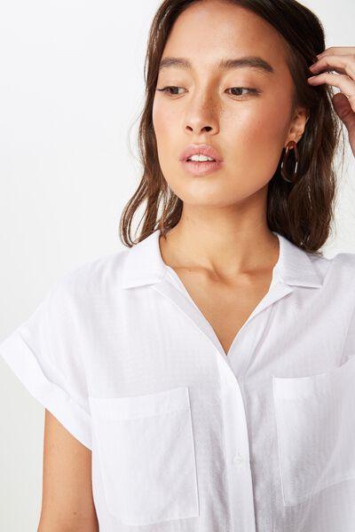Emily Chopped Short Sleeve Shirt, SMALL WHITE GINGHAM