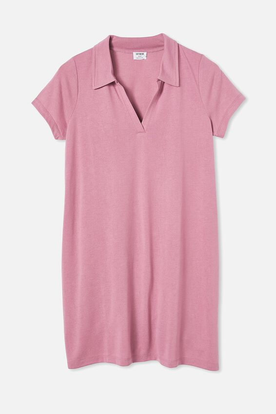 Tina Polo Tshirt Dress, DARK MAUVE MARLE