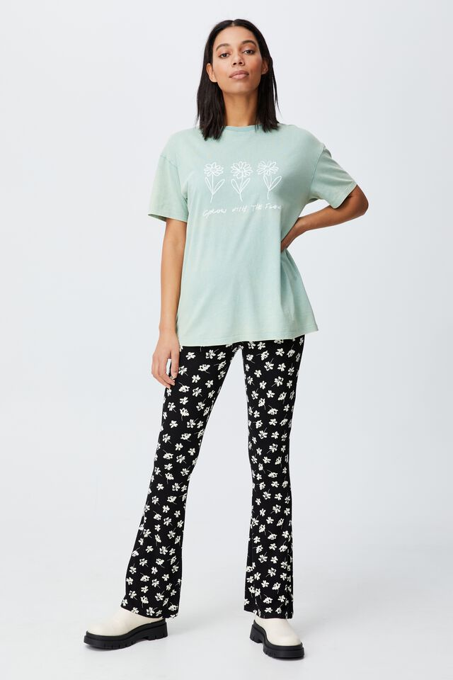 The Relaxed Boyfriend Graphic Tee, GROWING FLOWERS/SOFT TEAL