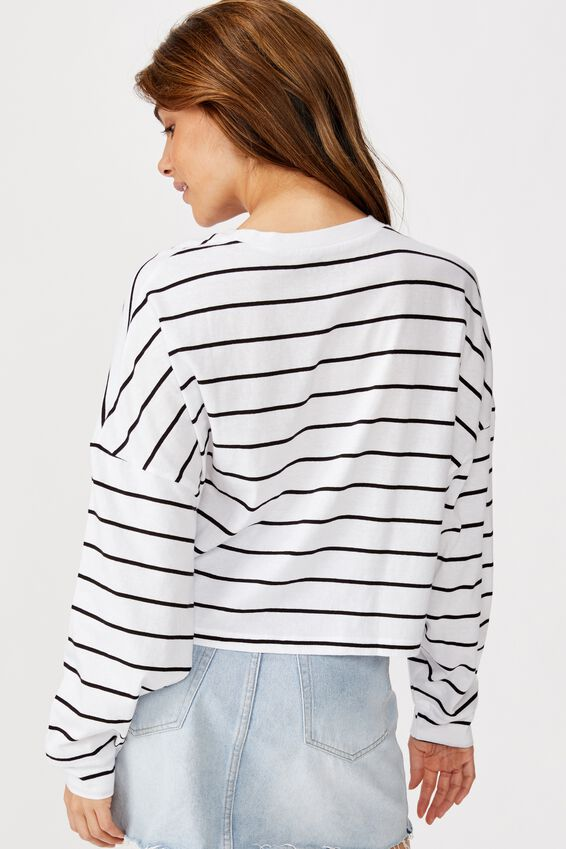 Tbar Brianna Graphic Long Sleeve, SNACKS WHITE/BLACK STRIPE