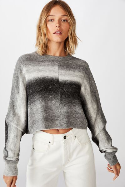 Serena Cropped Batwing Pullover, BLACK OMBRE