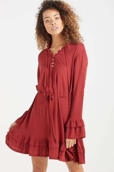 Woven Montana Drop Peplum Dress, GARNET