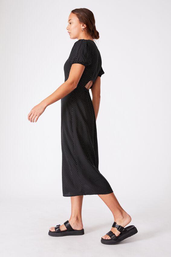 Woven Amber Open Back Midi Dress, TIFFANY SPOT BLACK