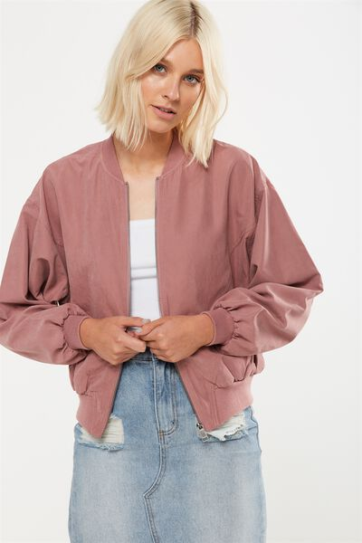 Batwing Bomber Jacket, ANTIQUE MAUVE