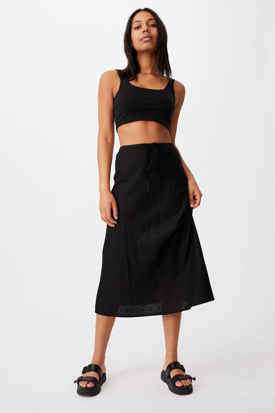 Sunset Lover Midi Skirt, BLACK