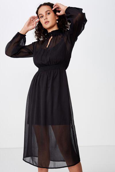 Woven Lillian Midi Dress, BLACK
