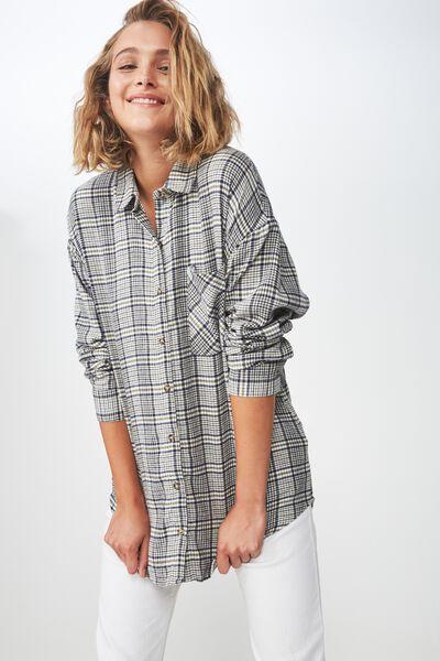 Casual Hudson Shirt, NYLA CHECK CREAM