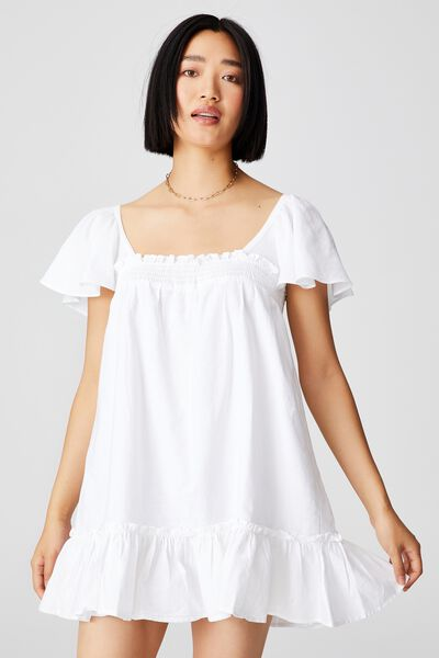 Woven Petite Florence Flutter Sleeve Tie Back Tuni, WHITE