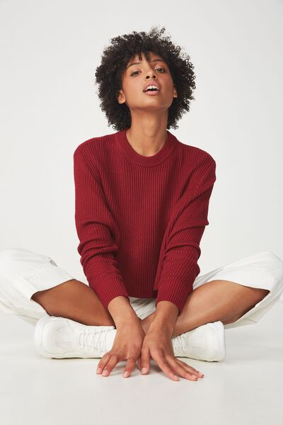 Archy Cropped 2 Pullover, RUMBA RED