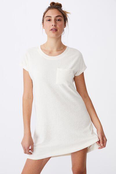 Terry Towelling Tshirt Dress, SEASHELL WHITE