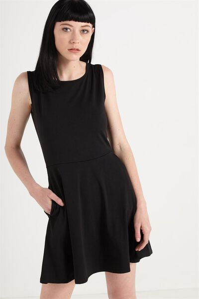 Sammie Sleeveless Fit And Flare, BLACK