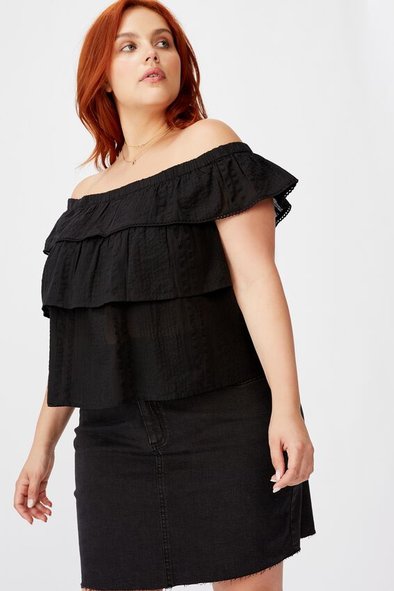 Curve Sunshine Off The Shoulder Top, BLACK