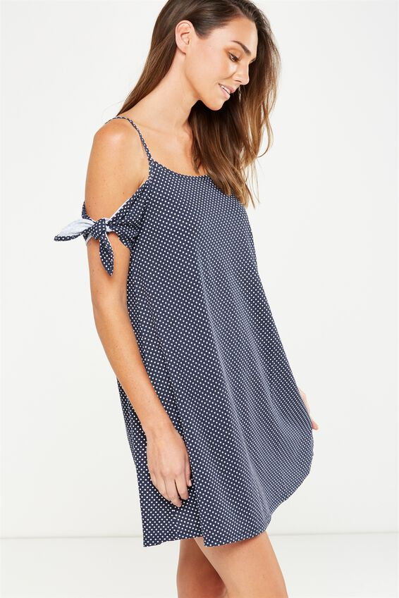 Sanza Cold Shoulder Dress, KARLA SPOT TOTAL ECLIPSE
