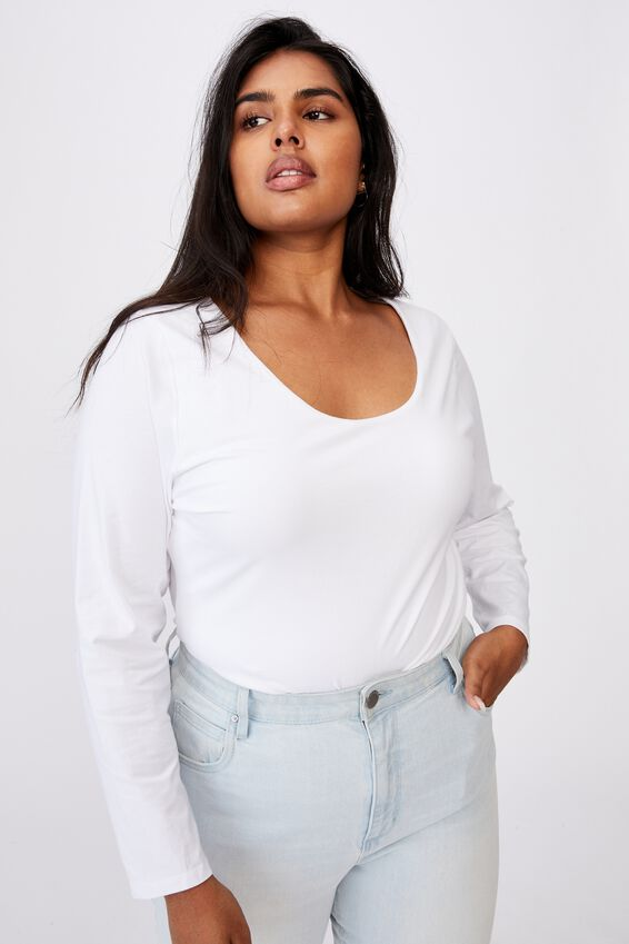 Curve Everyday Long Sleeve Scoop Top, WHITE