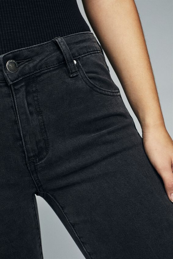 Mid Rise Cropped Skinny Jean, WASHED BLACK KNEE RIPS