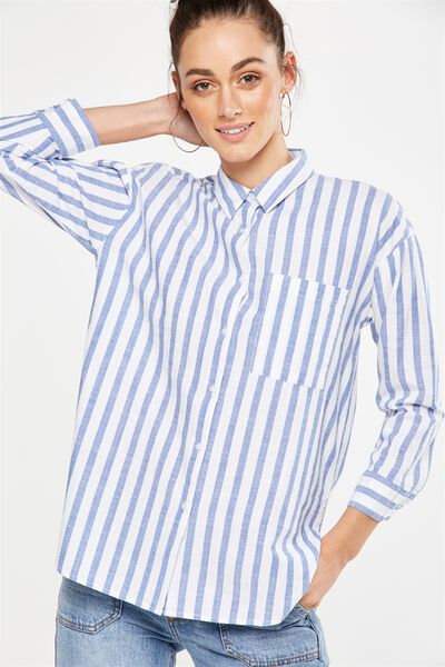 Millie Shirt, LUCY VERTICAL STRIPE MONACO BLUE