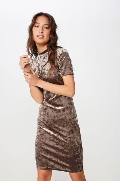 Anissa Short Sleeve Bodycon Midi Dress, MOSS VELVET