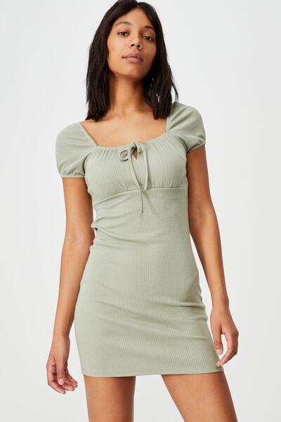 Rory Square Neck Mini Dress, SAGE