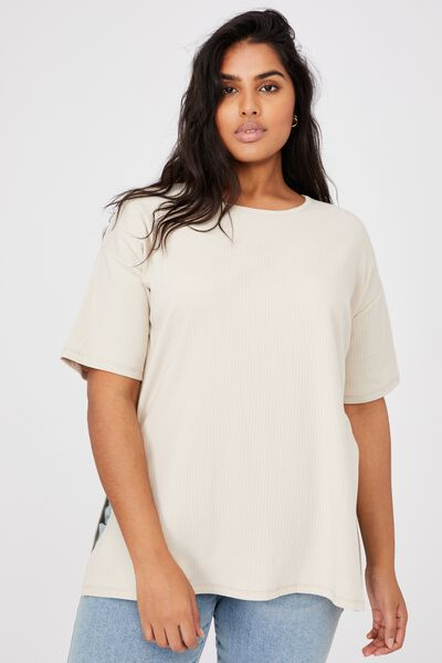 Curve Bella Oversize Rib Ss Top, SILVER LINING