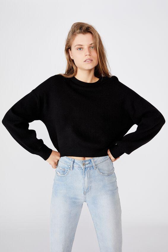 Chloe Crew Luxe Pullover, BLACK