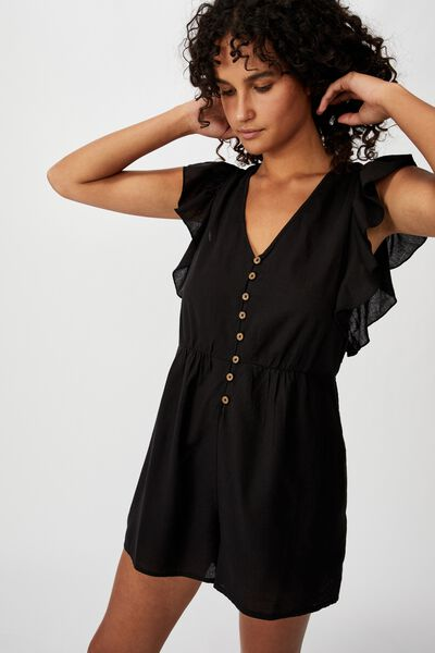 Woven Claire Short Sleeve Playsuit, BLACK