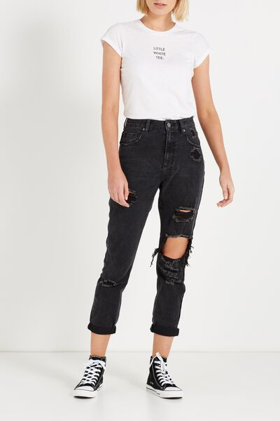 High Rise Relaxed 90S Jean, BLACK CRUSH RIPS