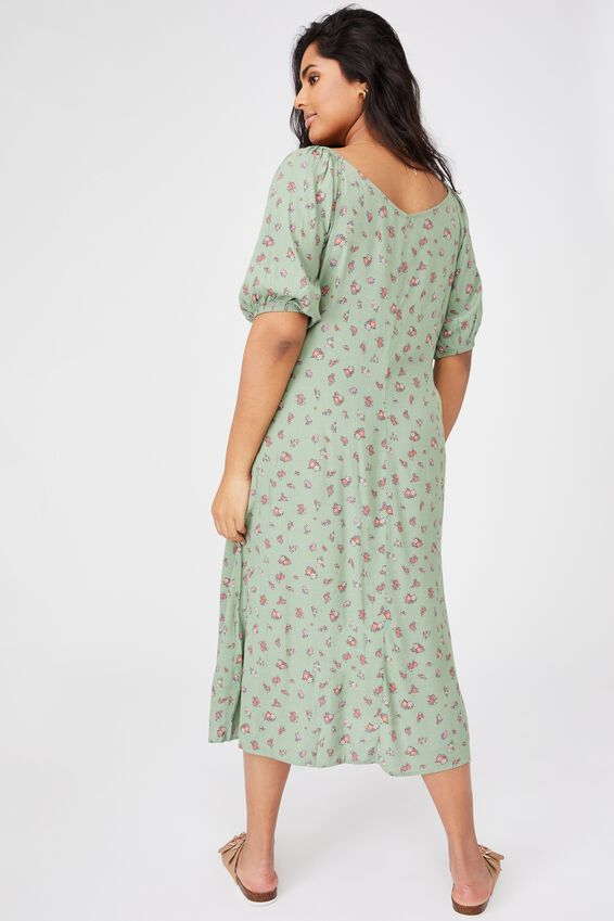 Curve Woven Sophia Bell Sleeve Midi Dress, CHARLIE DITSY SOFT GREEN