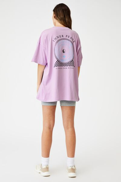 Oversized Graphic T Shirt Dress, INNER PEACE/LILAC BLOOM