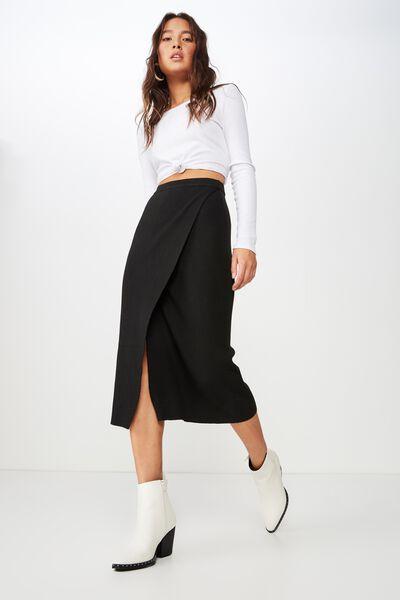 Alexa Wrap Skirt, BLACK