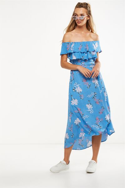 Woven Illa Off The Shoulder Maxi Dress, STEVIE FLORAL AZURE BLUE