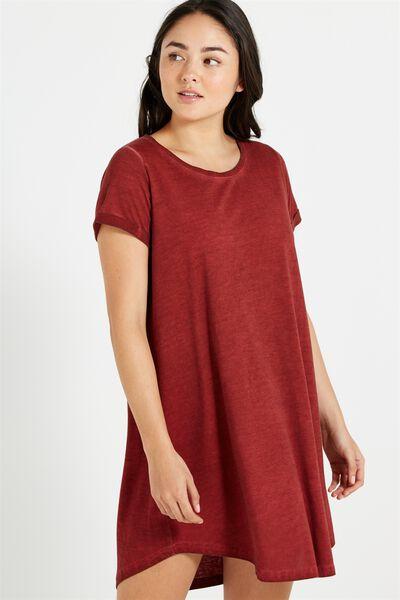 Tina Tshirt Dress 2, ACID GARNET