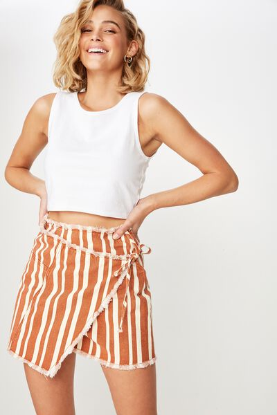 Wrap Denim Mini Skirt, LOUISE STRIPE RUST TAN