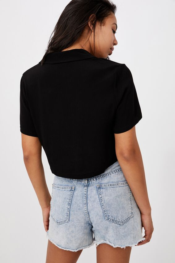 Cropped Summer Shirt, BLACK