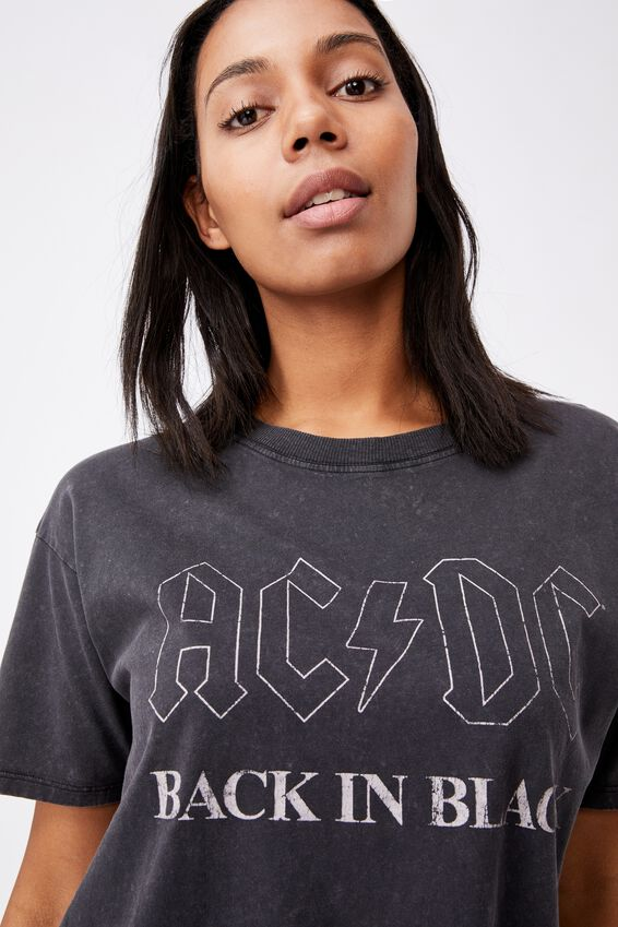 The Original Graphic License Tee, LCN PER ACDC BACK IN BLACK OUTLINE WASH/BLACK
