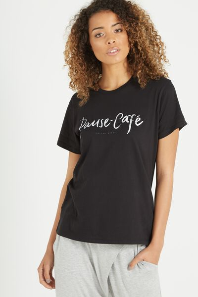 Tbar Fox Graphic T Shirt, PAUSE CAFE/BLACK